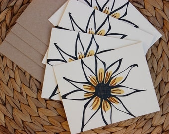 "Yellow Flower Cards - 4 Pack - A2 (4.25""x5.5"") Blank Inside"