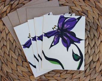 "Purple Flower Cards - 4 Pack - A2 (4.25""x5.5"") Blank Inside"