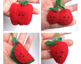 Felt Fruit Christmas Ornaments - Vegetable Ornaments - Stuffed Red Pepper, Strawberry, Cherries or Watermelon - Choose your Favorite