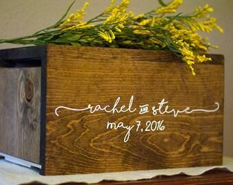 Personalized Wedding Card Box, money box, rustic wedding, rustic card box, wedding card holder, wood card box, rustic wedding decor