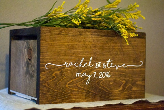 Personalized wedding card box money box rustic by for How to decorate a money box