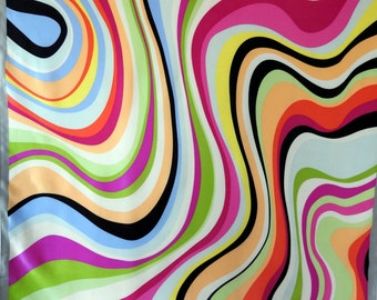 Vintage 80s Large Silk Scarf with Op Art Psychedelic Styling Wavy Stripes Multicolor Excellent Condition