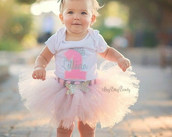 Pink And Silver - First Birthday Outfit - TUTU Set - Glitter Headband - 1 - One - First Birthday - Embroidered Bodysuit - Personalized Name