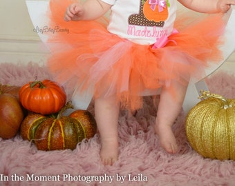 Orange and pink TUTU girls skirt first second third fourth birthday halloween fall spring colors