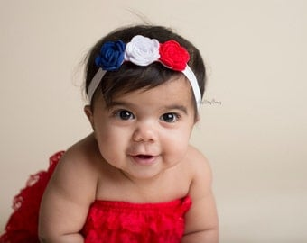 Fourth of July 4th red white and blue felt flower headband baby girls patriotic hair accessory