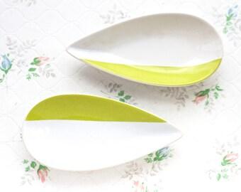 Benetton Teardrop Dish in Pistachio Green Stripes - Set of 2 - Chris Dantran Minimalist Design