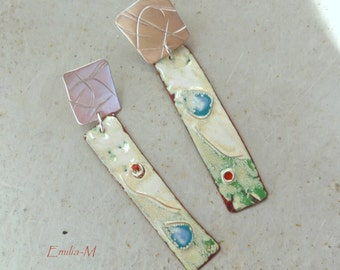 Sterling silver and Torch fired enamel on copper earrings - Artisan Jewelry by Emilia-M