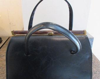 Vintage 1960's Black PVC Kelly Style Handbag - Cute!!