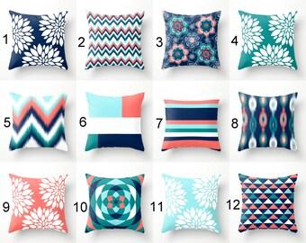 Throw Pillows, Pillow Covers, Navy Aqua Coral Teal Pillow Covers, Mix and Match Home Decor (M23) Decorative Pillows
