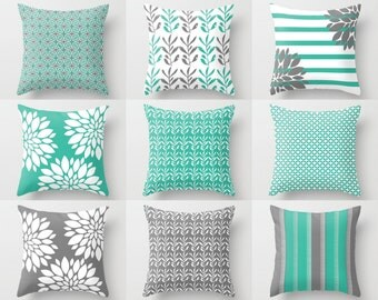 Pillow Covers, Throw Pillow Covers, Turquoise Grey White , Spring Pillow Covers Mix and Match! Decorative Pillows