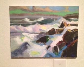 Crashing Waves on Rocky Shore