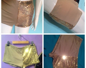Gold sequin and tan shorts