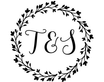 "Wedding Wreath Stamp, couples initials stamp, wedding wreath, floral wedding stamp, card stamp, tag stamp, round wreath, 1.8""x1.8"" (cts148)"