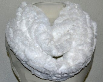 Minky Snow White Infinity Scarf, Soft and Warm, Neckwarmer, Circle Scarf, Winter Scarf, Ready to Ship!