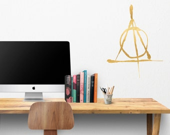 Harry Potter Deathly Hallows HP Hand Drawn Logo - Harry Potter Deathy Hallows Wall Decal