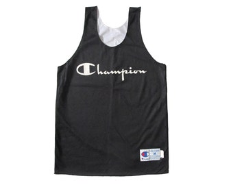 Vintage Champion Reverisble Black & White Basketball Jersey Sportswear 90s Made in USA