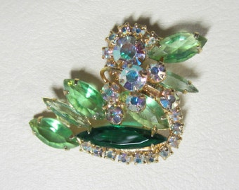 "Vintage Rhinestone Jewelry -  ""Juliana"" Figural Duck Brooch Pin - Book Piece - Delizza & Elster"