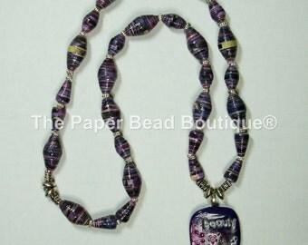 Handmade Paper Bead Necklace Jewelry Purple Beauty