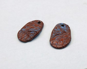Abstract Impression - Withered Rough Artifacts -  Earring Pair Ceramic