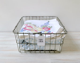Vintage wire basket; metal bicycle basket; large rectangular wire basket; metal basket