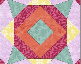 Meadow Flower 2 Paper Template Quilting Block Pattern PDF