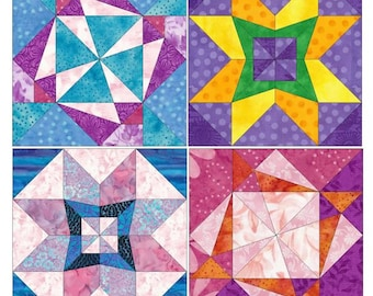 Star Set of 4 Paper Piece Template Quilting Block Patterns Set 6 PDF