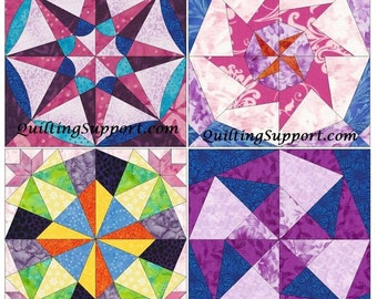 Star Set 9 Paper Piece Template Quilting Block Patterns Set of 4 PDF
