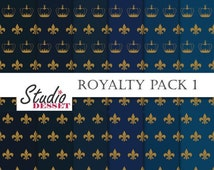 30% OFF SALE Royal Digital Paper, Crown and Fleur de Lis, Dark Blue and Gold Backgrounds, Patterns for scrapbooking, cards, Weddings