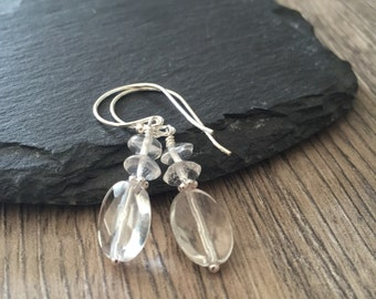 Rock Quartz Earrings, april birthstone clear crystal quartz faceted for sparkle gemstone earrings