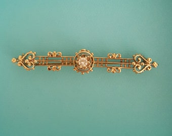 Turn of the Century Lacy Diamond Pin Brooch in 14k Gold -EB463