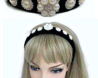 Beautiful Jewelled Black Velvet Flock Headband Hair Band with Pearl Diamante Cabochons