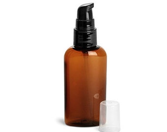 2 oz. Amber Plastic Bottle with Treatment Pump