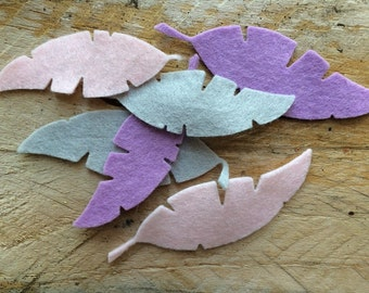 Felt die cut feathers, felt feathers, small feathers, pack of 10.