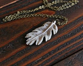 Oak Leaf Pendant Necklace - Carved from Antler - Solid Brass Necklace