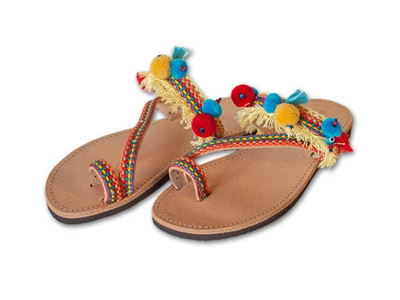 ... Sandals , Pom Pom Sandals , Gladiator Sandals , SANTORINI orange