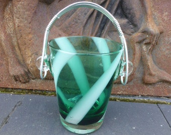 VINTAGE ICE BUCKET on 1960, glass and metal, green and white