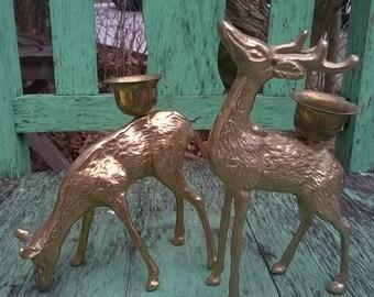 Vintage Brass Deer Candle Holders, Woodland Decor, Rustic Cabin