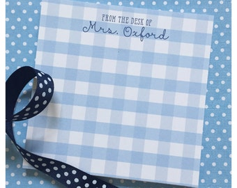 Gingham Notepad - Personalized