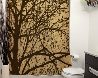 Ljubljana Weeping Printed Shower Curtain, Bathroom Decor, Home Decor, Curtain, Tree, Vintage, Travel Photography, Brown, Nature, Silhouette
