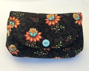 "Cute Date-night Floral Clutch Bag,  8 1/2"" x 5 1/2"" Small Bag with Whimsical Orange, Red, and  Turquoise Floral with Turquoise print lining"