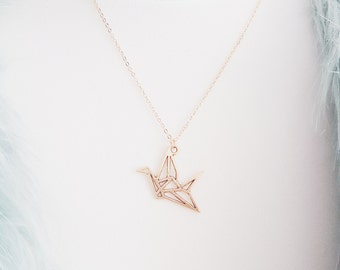 Gold Origami Crane Necklace | Paper Cut-out Crane | Gift | Boho Jewelry