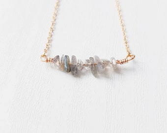 Gemstone Bar Necklace | Fiery Labradorite Bar Necklace | Gemstone Necklace | Labradorite Jewellery | Bohemian | Boho Jewelry