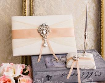 Rose Gold Wedding Guest Book, Pen, Pen Holder, Crystal Wedding Sign Book, Blush Guest Book, Rose Gold Wedding Accessories
