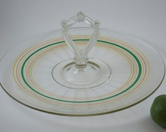 Vintage Glass Serving Plate With Handle, Banded Colored Rings