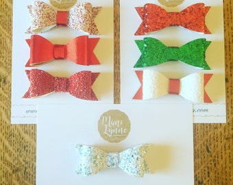 Christmas Bows-Holiday Bows-Red Bow-Green Bow-Ice Queen-Baby Headband