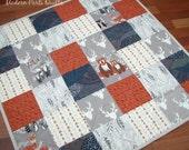 Woodland Baby Quilt, Patchwork Baby Quilt, Baby Shower Gift, 33x33, Woodland Baby Blanket, Baby Boy Quilt, Gender Neutral Infant Quilt