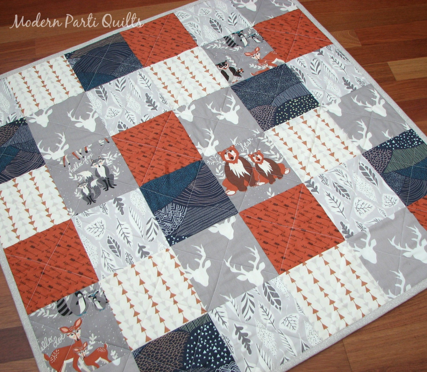 Baby Gift Quilt : Woodland baby quilt patchwork shower gift