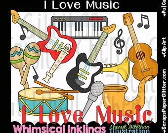 I Love Music Clip Art - Commercial Use, Digital Image, Png, Clipart - Instant Download - Student, School, Music Class, Music Teacher, Band