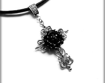 Cross with Black Rose