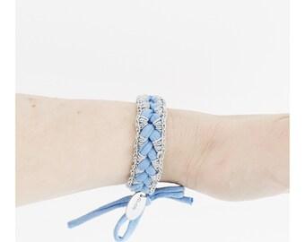 Boho Crochet bracelet   summer blue